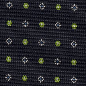 Sky Blue, White & Lime Green onMidnight Blue Macclesfield Print Pattern Silk
