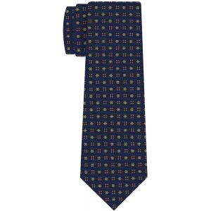 Yellow Corn & Burnt Orange on Dark Navy Blue Macclesfield Print Pattern Silk Tie #MCT-455