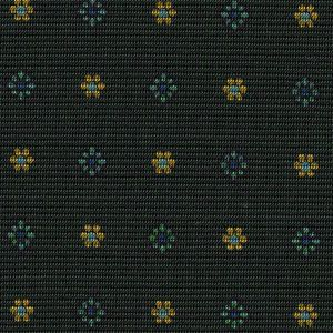 Sky Blue, Blue & Yellow Gold on Forest Green  Macclesfield Print Pattern Silk