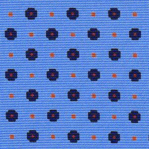 Midnight Blue, Red & Burnt Orange on Sky Blue Macclesfield Print Pattern Silk