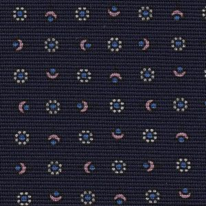 Sky Blue, Off-White & Light Pink on Midnight Blue Macclesfield Print Pattern Silk