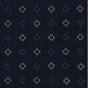 Ocean Blue & Off-White on Midnight Blue Macclesfield Print Pattern Silk