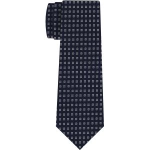 White on Midnight Blue Macclesfield Print Pattern Silk Tie #MCT-469