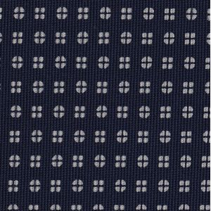 White on Midnight Blue Macclesfield Print Pattern Silk