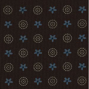 Blue, Sky Blue & Sand on Chocolate Macclesfield Print Pattern Silk