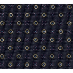 Sky Blue, Gold & Dark fuchsia on Midnight Blue Macclesfield Print Pattern Silk