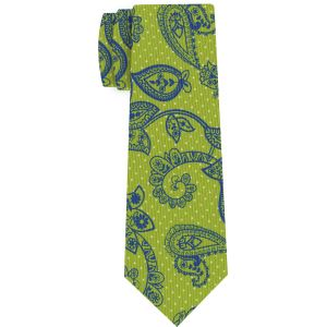 Blue & Off-White on Lime Green Macclesfield Print Pattern Silk Tie #MCT-472
