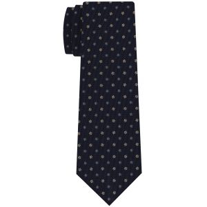 White, Sky Blue & Yellow Gold on Midnight Blue Macclesfield Print Pattern Silk Tie #MCT-474