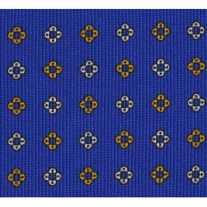 Off-White & Yellow Gold on Royal Blue Macclesfield Print Pattern Silk
