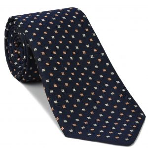 Salmon & White on Dark Navy Blue Mogador Pattern Silk Tie #4