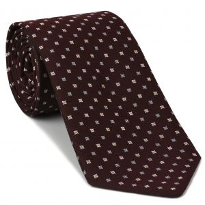 Light Lavender & White with a touch of Pink on Burgundy Mogador Pattern Silk Tie #5