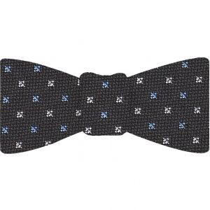 Sky Blue & White on Charcoal Gray Mogador Pattern Bow Tie #MGJBT-1