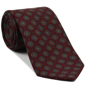 Burnt Orange, Sky Blue & Off-White on Dark Red Pattern Challis Wool Tie #CHPT-5