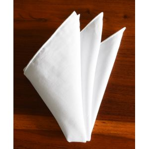 White Belgian Linen Pocket Square #LLPS-1