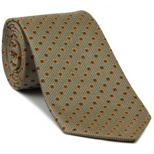 Yellow Gold, Gold, Golden-Brown & White Flower Silk Tie #FT-18