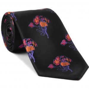 Purple, Lavender , Orange & Fuchsia on Black Flower Silk Tie #FT-25