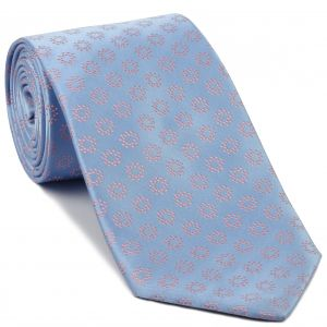 Pink on Light Blue English Flower Satin Silk Tie #FT-3