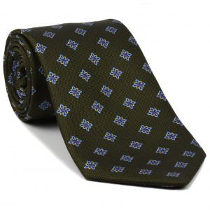 Sky Blue, Purple & Corn Yellow on Dark Olive Green - Flower Silk Tie #36