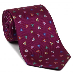 Yellow, Green, Orange, White, Blue & Powder Blue on Dark Pink Geometric Silk Tie #EGT-27