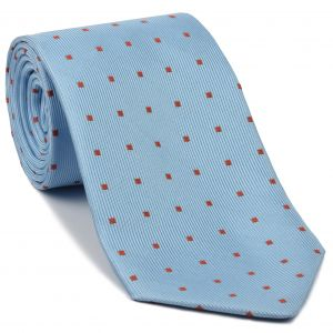 Rust on Sky Blue English Geometric Silk Tie #EGT-29