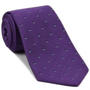 Midnight Blue & Powder Blue on Purple English Geometric Silk Tie #EGT-31