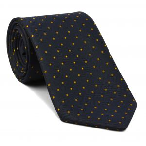 Yellow/Gold Dots on Dark Navy Pin-Dot Silk Tie #EPDT-3
