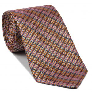 Sky Blue, Light Blue, Lavender, Pink, Burnt Orange & Light Yellow Pattern Silk Tie #EPT-24