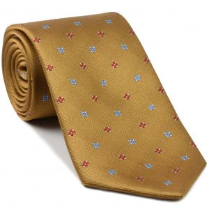 Red & Light Blue on Golden-Brown English Flower Silk Tie #FT-11