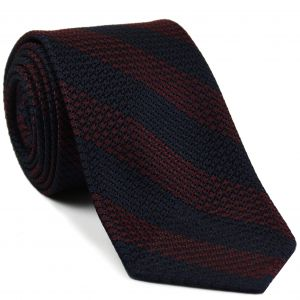 Dark Red & Midnight Blue Grenadine Grossa Wide Stripe Silk Ties #GGBST-6