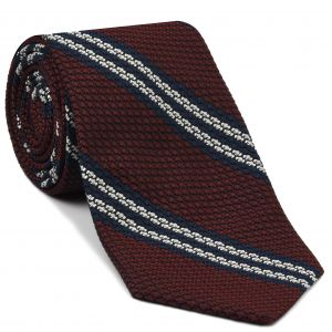 Midnight Blue & White Stripe On Dark Red Grenadine Tie #GGST-17