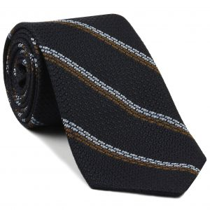 Powder Blue & Brown Stripes On Midnight Blue Grenadine Tie #GGST-3