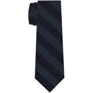 Sky Blue/Olive Green & Midnight Blue Grenadine Grossa Wide Stripe Silk Ties #GGBST-3