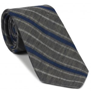 Navy Blue & White on Charcoal Gray Striped Linen/Cotton Silk Tie #GLCST-1