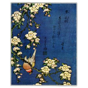 Bullfinch and Drooping Cherry Hokusai Print Pocket Rectangle #13