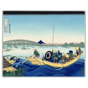 Sunset Across The Ryogoku Hokusai Print Pocket Rectangle #6