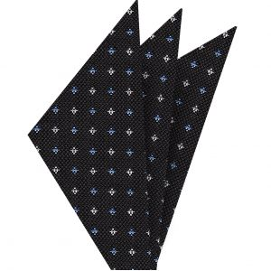Sky Blue & White on Charcoal Gray  Mogador Pattern Silk Pocket Square #1