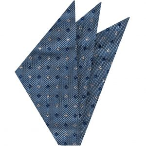 Navy Blue & White on Sky Blue Mogador Pattern Silk Pocket Square #2