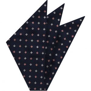 Salmon & White on Dark Navy Blue Mogador Pattern Silk Pocket Square #4