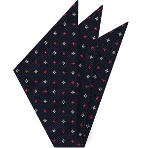 Light Red & White on Dark Navy Blue Mogador Pattern Silk Pocket Square #6