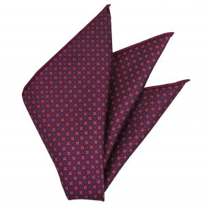 Off-White, Blue & Dark Blue on Dark Fuchsia Macclesfield Print Pattern Silk