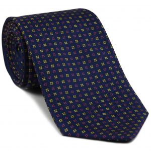 Yellow Gold & Pink on Dark Navy Blue Macclesfield Print Pattern Silk Tie #MCT-443