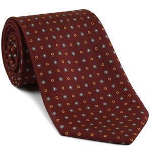 Gold, White & Slate Blue on Dark Red Macclesfield Print Pattern Silk Tie #MCT-447