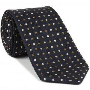 Yellow Gold & White on Midnight Blue Macclesfield Print Pattern Silk Tie #MCT-448
