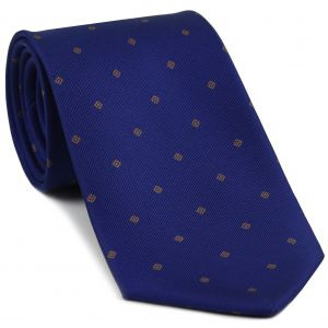 Brown on Blue Macclesfield Print Pattern Silk Tie #MCT-449