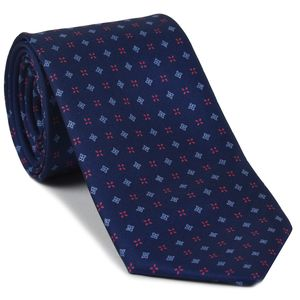 Powder Blue & Fuchsia on Navy Blue Macclesfield Print Pattern Silk Tie #MCT-450