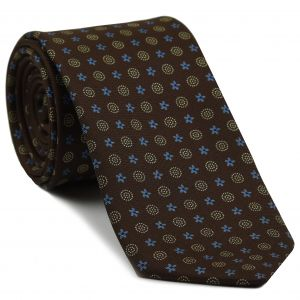 Blue, Sky Blue & Sand on Chocolate Macclesfield Print Pattern Silk Tie #MCT-470