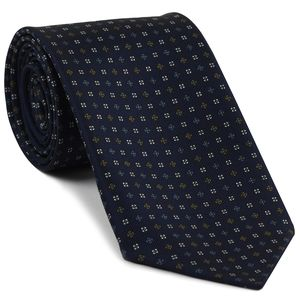 Chocolate, Sky Blue & White on Midnight Blue Macclesfield Print Pattern Silk Tie #MCT-477