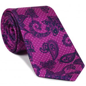 Midnight Blue & Off-White on Dark Fuchsia Macclesfield Print Pattern Silk Tie #MCT-478
