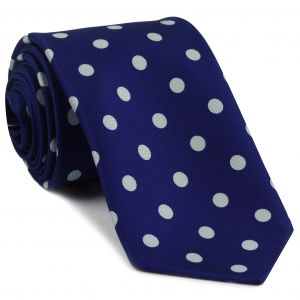 White on Purple Blue Macclesfield Print Pattern Silk Tie #MCT-481