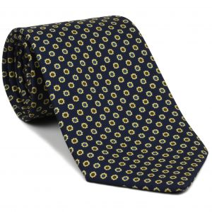 Light Yellow, Blue, Black & Dark Brown on Dark Navy Blue Macclesfield Printed Silk Tie #MCT-97